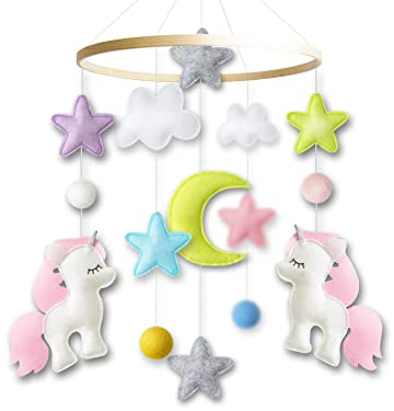 Baby Crib Mobile by Giftsfarm, Unicorn Baby Mobile for Girl Nursery Decor
