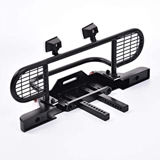 sweet dream Black Rear Bumper, Front Bumper, Skid Plate & Winch Plate, Climbing Front Protection net Bumper, Metal Bumper with 4led Square Light for TRX4 Remote Control 4WD Axial SCX 10