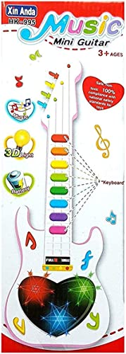 BASICS 21 B21 Musical Mini 3D Guitar Instrument with Sound 3D Lightning Effects Learning Toy for Boys Girls