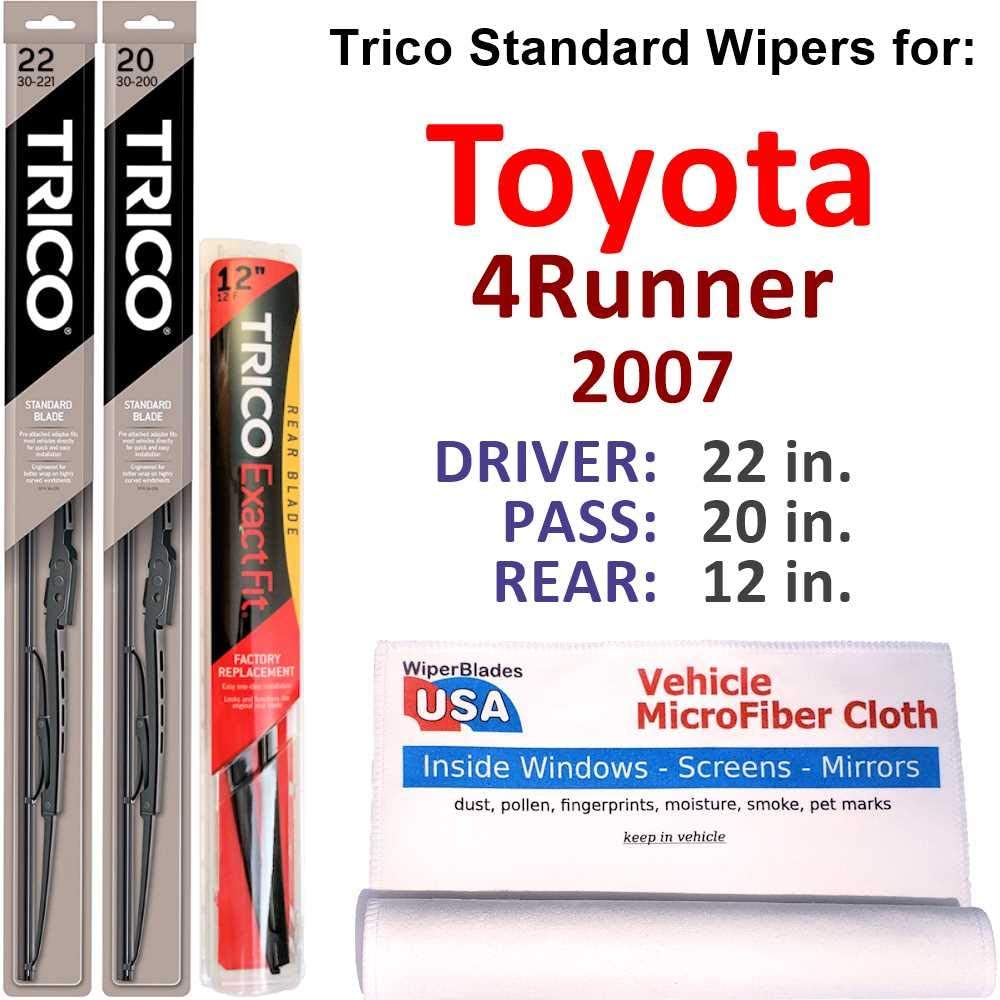 Wipers for 2007 バーゲンセール Toyota 4Runner Set Rear Steel Trico w 送料無料激安祭