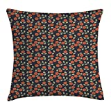 JIMSTRES Garden Art Throw Pillow Cushion Cover by, Dark Toned Dotted Background with Flower Silhouettes and Foliage, Decorative Square Accent Pillow Case, Night Blue Ruby Green 20x20 inches