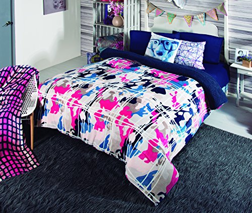 Intima Hogar 48391 Cobertor con Flannel Grafitti, Color Gris, King Size