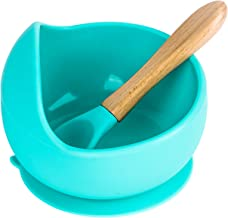 Bowl and Spoon Set: Sherily, 2-Piece Pack, Bowl with Suction Cup (Turquoise Green), with Non-Toxic Silicone, Food Suppleme...