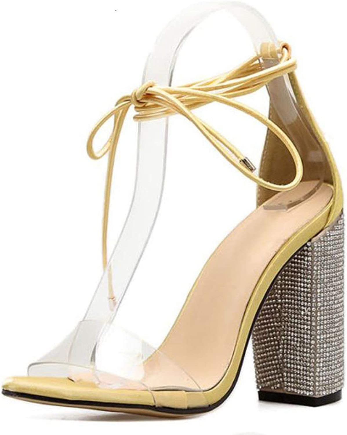 Coolemon Women High Heels Sandals Summer Square Heels Crystal Heeled Platform shoes Ladies Sexy Party Wedding Lace Up shoes,Yellow,4