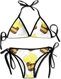 New French Fries Women Swimwear Bandage Bikini Set Push-up Padded Bra Swimsuit