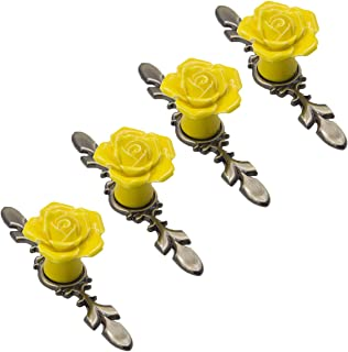 SCTD Rose Cabinet Knobs with Bronze Backplate, Vintage Kitchen Ceramic Flower Drawer Pulls Handles for Dresser Cupboard Waredobe with 3 Size Screws, 4 Pack (Yellow Set of 4)