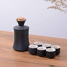 FACAIA Zestaw japońskich kubków do sake, tradycyjne ceramiczne zestawy do serwowania Black Sake 7 szt. zawiera 1 garnek i ...