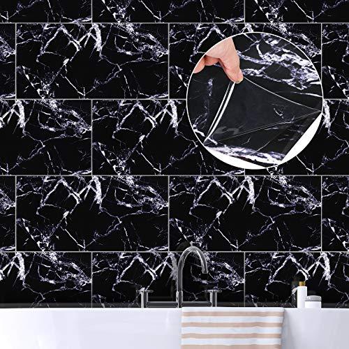 ENCOFT 6 Piezas Adhesivo para Azulejos Rectangular, Pegatinas de Azulejos Autoadhesivo Azulejo en PVC, Pegatinas de Baldosas Impermeable para Cocina Baño, Mármol Negro Blanco 60x30cm