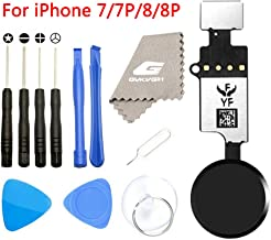Latest Home Button Replacement for iPhone 7 7Plus 8 8Plus,GVKVGIH Home Button Touch ID Main Key Flex Cable Assembly Replacement with Repair Tools for iPhone 7 7P 8 8P (Version4.0 Black)