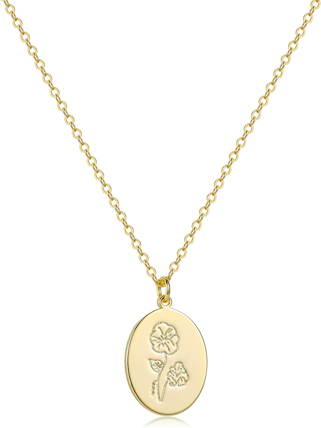 S.J JEWELRY 14K Gold Tulsa Mall Plated Limited price sale Guardian Disc Necklace Flower Coin P