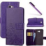 COTDINFOR Galaxy J7 Prime Funda trébol Cierre Magnético Billetera con Tapa para Tarjetas de Cárcasa Elegante Retro Suave PU Cuero Caso Protectora Case para Samsung Galaxy J7 Prime Clover Purple SD
