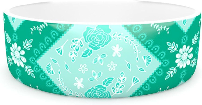 Kess InHouse Anneline Sophia Diamonds Mint  Pet Bowl, 7Inch, Green Seafoam