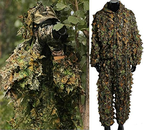 Mounchain Ghillie Suits Hunting Camouflage Maple Leaf Hooded 3D Bionic Training Uniform Military Sniper Cloak Camouflage Clothing Hunting Shooting Airsoft Wildlife Photography or Halloween