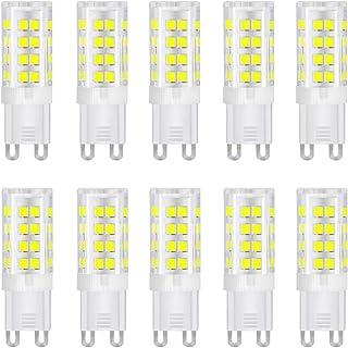 Bombilla LED G9 LED, base de cerámica, 4 W (equivalente a 40 W bombillas halógenas), 400 lm, luz diurna 6000 K, casquillo G9, G9 bombillas para la iluminación doméstica, paquete de 10