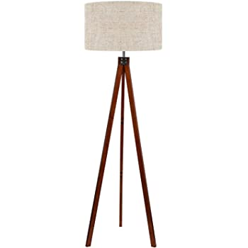 LEPOWER Wood Tripod Floor Lamp, Mid Century Standing Lamp, Modern Design Studying Light for Living Room, Bedroom, Study Room and Office, Flaxen Lamp Shade with E26 Lamp Base