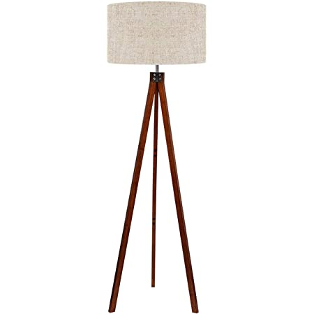 Amazon Com Lepower Wood Tripod Floor Lamp Mid Century Standing Lamp Modern Design Studying Light For Living Room Bedroom Study Room And Office Flaxen Lamp Shade With E26 Lamp Base Home Kitchen