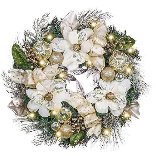 Valery Madelyn Pre-Lit 24 Inch Elegant Champagne Gold Lighted Christmas Door Wreath with Shatterproof Ball Ornaments, Ribbon, Artificial Magnolia, Battery Operated 20 LED Lights
