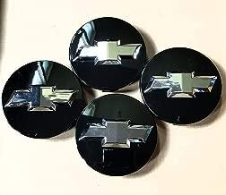 YOJOHUA 3.25 Inch Wheel Center Hub Caps for 2005-2013 Chevrolet, Chrome Center Cap Emblem for 18 20 22 Inch Chevy Surburban Silverado Tahoe Avalanche Wheels 9596403 4PCS (Black)
