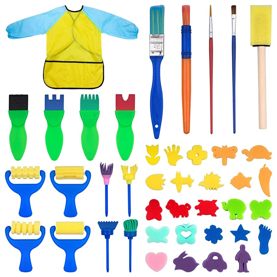 Petift Kids Early Learning Sponge Painting Brushes Kit, 42 Pieces Mini Sponge Drawing Shapes Paint Craft Brushes for Toddlers Assorted Pattern, Including Children Waterproof Art Painting Smock Apron