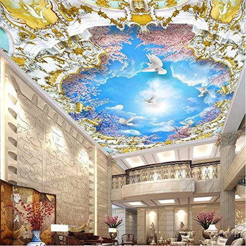 Wuyyii Europese Stijl Blauwe Hemel Kers Bloesem Fotobehang 3D Stereo Plafond Mural Hotel Woonkamer Landschap Muur Papier Home Decor 200 x 140 cm.