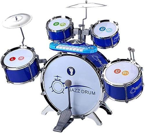 LINGLING-Trommel Kinder Trommel Anf er 1-3-6 Jahre Alt Baby Spielzeug Musikinstrument Größe Jazz Drum M lichen Und Weißichen Eintritt (Farbe   Blau)