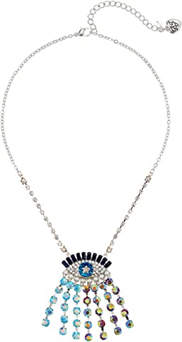 Betsey Johnson - Multicolor and Faceted Stone Evil Eye Pendant Necklace