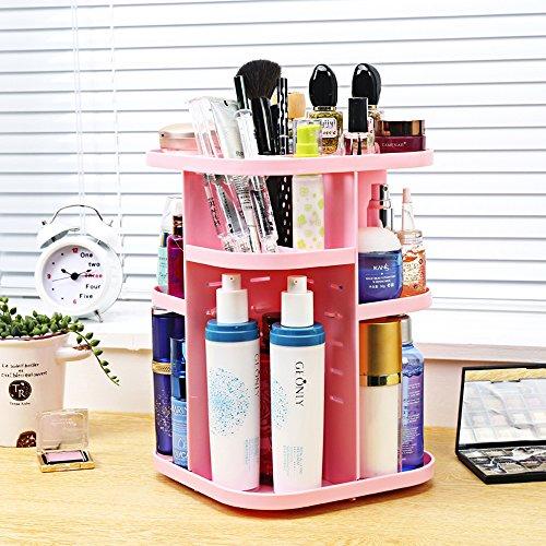 Hifina Stockage De Maquillage / Rangement Maquillage Organisateur / Boite De Rangement Plastique / Tournant à 360° Avec éTagères Ajustables pour femme (Rose)