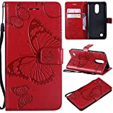 NOMO LG K20 Plus Hülle, LG K20 V Hülle, LG Harmony Hülle, LG K20 Plus Wallet Folio Flip PU Leder Schmetterling Hülle Cover mit Kreditkartenfächern, Kickstand Handyhülle für LG Grace/LV5/K10 2017, rot