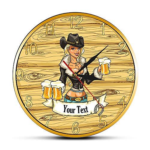 Cwanmh Reloj de Pared Sexy Vaquera con Jarra de Cerveza Personalizada Barra de hogar Apellido Reloj de Pared Artesanal Cerveza Bebida Vaquera Reloj de Pared Personalizado 30 cm X 30 cm