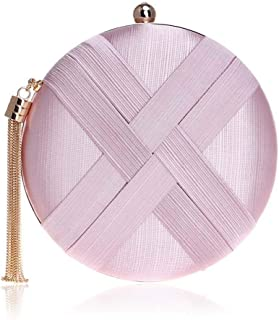 Sturdy European and American Silk Round Dinner Handbag Banquet Clutch Handbag Evening Handbag Shoulder, Crossbody, Portable Handbag Tassel Zipper 8 Colors Large Capacity (Color : Pink)