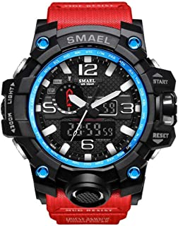 SMAEL Boy's Military Watch, Big Face Sports Watch Army Style Multifunctional Wrist Watch for Youth - red