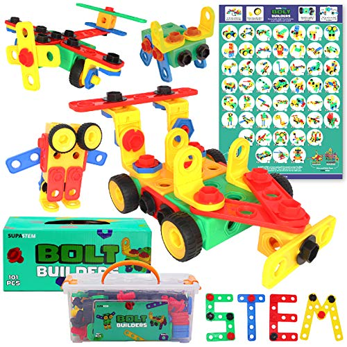 SUPA STEM Kids Construction Toys - 101 pcs Nuts and Bolts Toy with Storage Box and Poster - Creative Building Blocks Set for STEM Learning, Model Building and More - STEM Toys For Girls & Boys Aged 3+