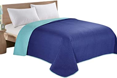 HollyHOME Reversible Super Soft Solid Single Quilted Bed Quilt Bedspread Comforter Bed Cover, Blue and Teal, Full/Queen