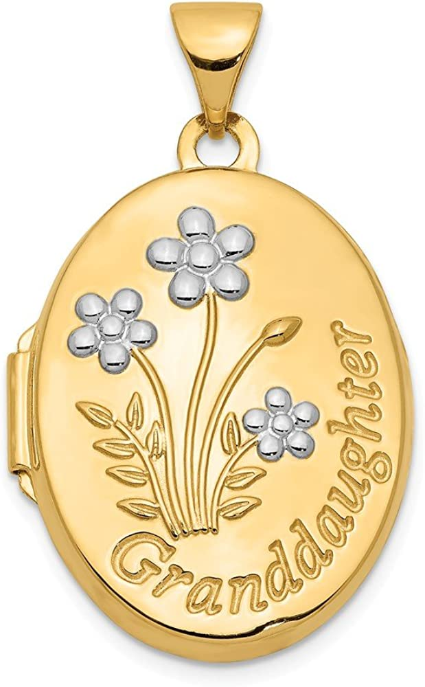 Finejewelers 14k with Rhodium 21mm Oval Granddaughter Locket Pendant Necklace 18 inch Chain Included