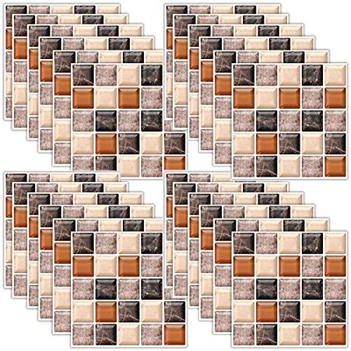 Adesivi Per Piastrelle Autoadesivo di Mosaico 36 pezzi 3D Autoadesivo Rimovibile Wallpaper Autoadesivo Parete Autoadesiva per il Bagno Cucina Backsplash PVC Piazza Decorazioni 20x20cm