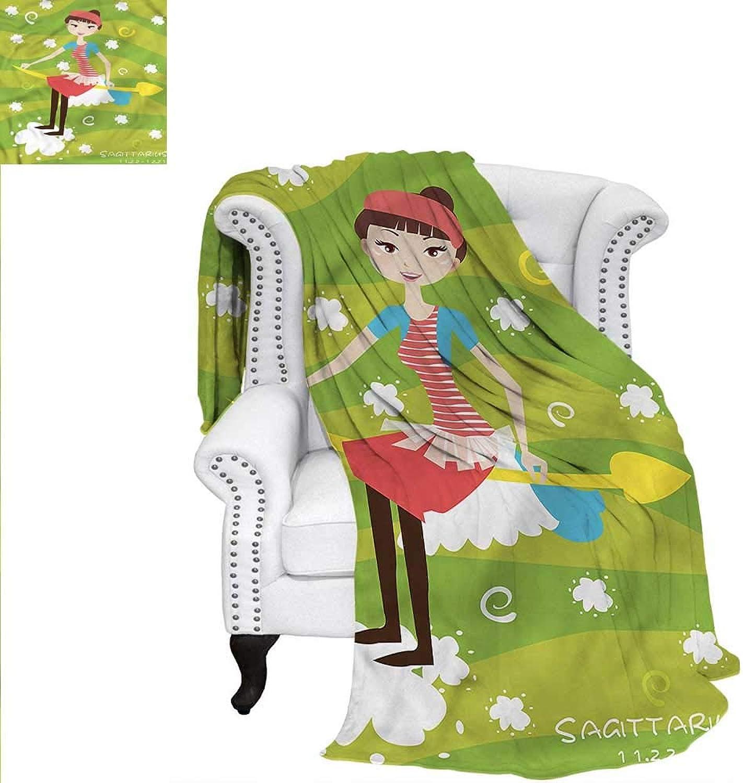 RenteriaDecor Zodiac Sagittarius Throw Blanket Girl on an Arrow Warm Microfiber All Season Blanket for Bed or Couch 60 x36