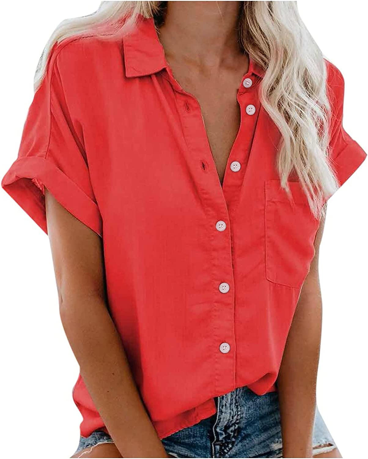 Short Sleeve Blouses for Women Casual Summer Super Special New mail order SALE held Up Neck So V Button