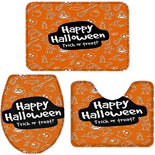 tyutrir Juego de 3 alfombras de baño, felices Halloween Trick or Treat alfombra de baño, alfombrilla de inodoro en forma de U, cubierta para tapa de inodoro
