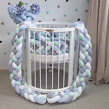 Braided Knotted Bumper QCUTEP Baby Crib Bumper Knot Pillow Cushion Plush Cradle Decor for Newborn Baby Pink+Blue