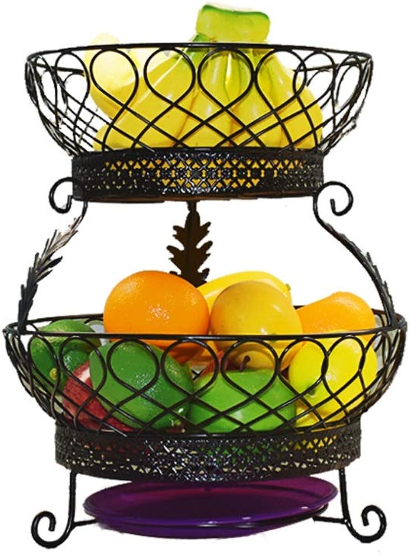 Panier de fruits créatif Double bol de rangeHommest en fer forgé salon cuisine accessoires avec bac à eau (Couleur   A)