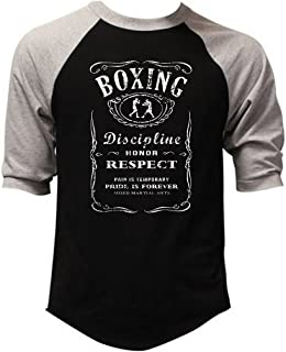 Men's MMA Boxing Whiskey Label Black/Gray Raglan Baseball T-Shirt Black/Gray