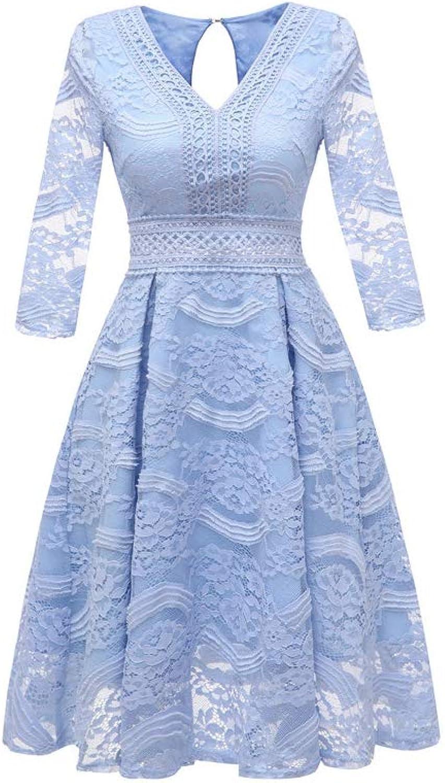 Aignse Dress High Waist bluee Floral Lace Dress V Neck Hollow Waist 3 4 Sleeve Women Luxury Dress Elegant Autumn Dresses