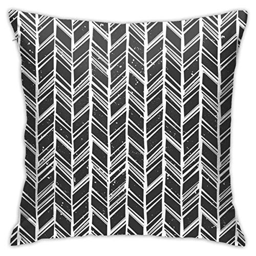 Black and White Chevron Pattern Decorative Throw Pillow Cover Without Inserts Cushion Case for Home Sofa Bedroom Car Chair House Party Indoor Outdoor 18 X 18 Inch 45 X 45 cm