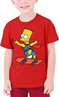 LiuYeWen Bart-Simpson Boy 6-16 Age Limited Edition Round Neck T-Shirt for Teenagers Casual Style Black