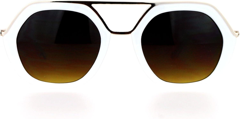 SA106 Womens Metal Brow Bridge Octagon Unique Aviator Sunglasses White
