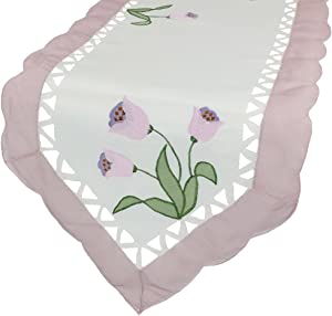 Xia Home Fashions Tulip Embroidered Cutwork Floral Table Runner, 15 by 54-Inch, Lilac