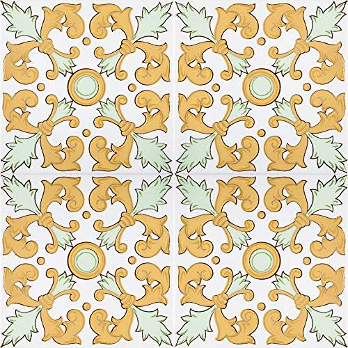 Cerames- Navar, baldosas cerámicas marroquí - 12 baldosas decorativas orientales tunecinas (0,48 m2) 20 x 20 cm para el baño, la cocina, debajo de las escaleras. Coloridos azulejos decorativos.