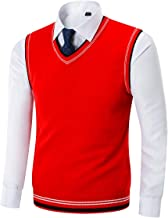 Kinlonsair Mens Casual Slim Fit Lightweight V-Neck Sweater Vest Thermal Knitted Jumper Long Sleeve Sweater Pullover