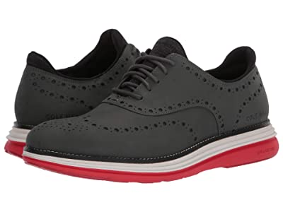 Cole Haan Original Grand Ultra Wing Ox (Gray Pinstripe Nubuck/Flame Scarlet/Nimbus Cloud) Men