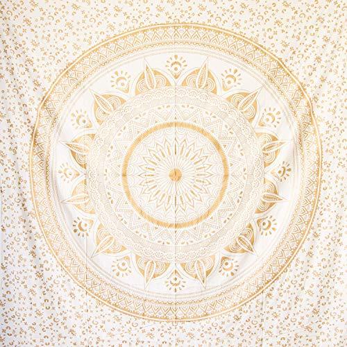 MOMOMUS Tapiz Mandala Oro - 100% Algodón, Grande, Multiuso - Plaid/Foulard/Tela/Colcha Ideal como Cubre Sofá/Cama